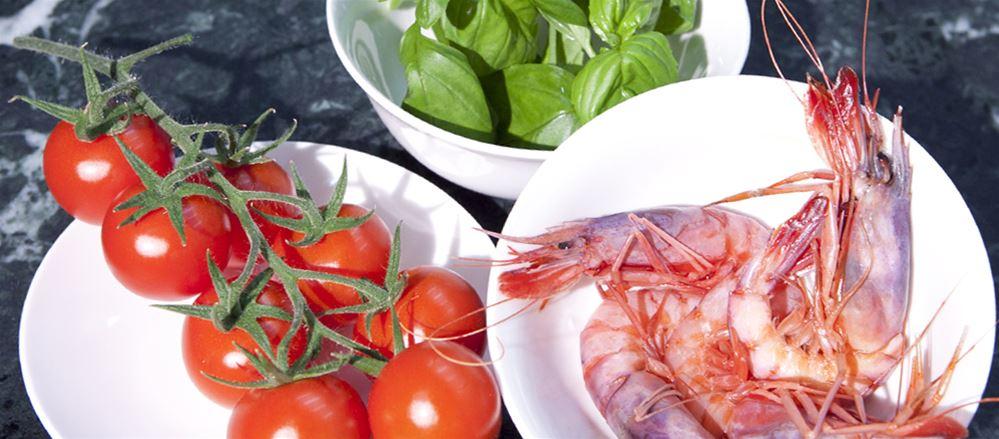 Bacco con Gambero rosso del Mediterraneo e Basilico